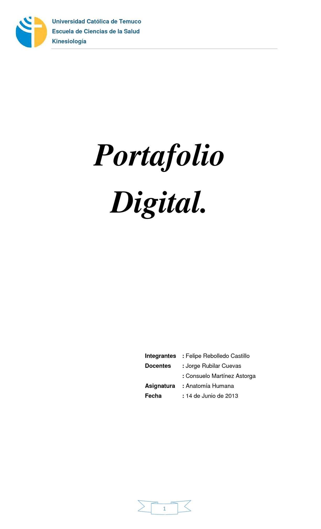 Calaméo - Portafolio Digital Anatomía Humana Kinesiología UCT