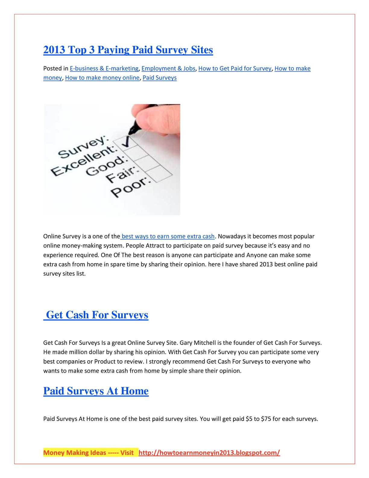 Calaméo - 2013 Top 3 Paying Paid Survey Sites