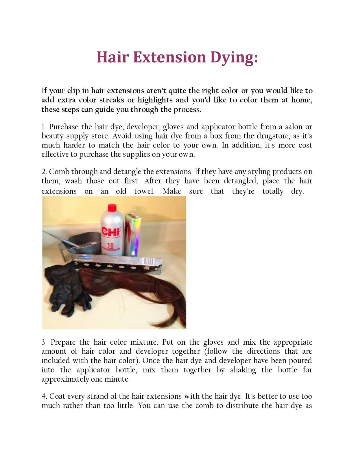 Calamo Hair Extension Dying
