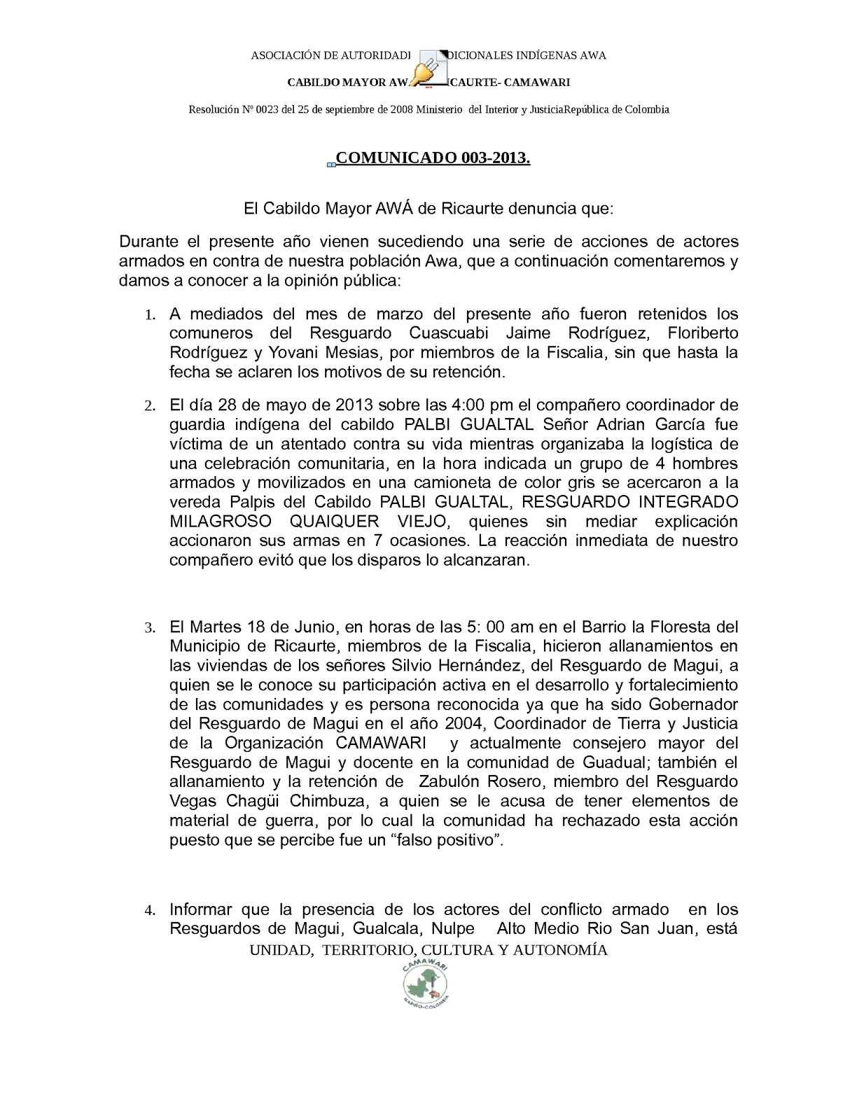 Calam O Comunicado Camawari 003 2013: comunicado ministerio del interior