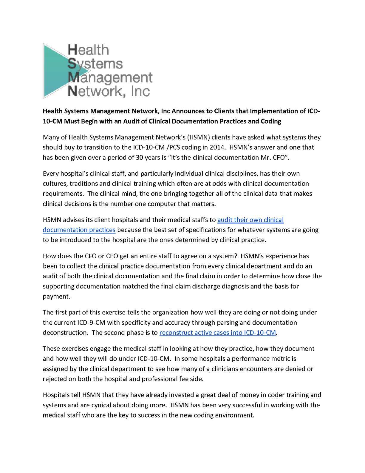Calamo Health Systems Management Network Inc Announces To