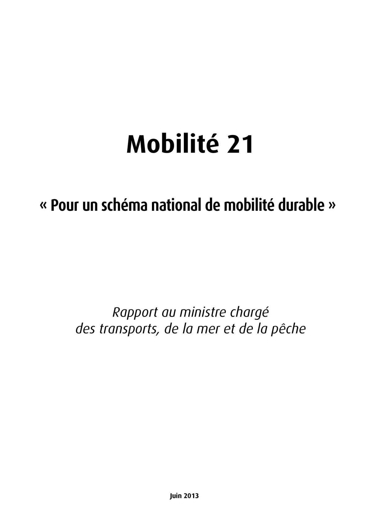 Rapport Mobilité 21