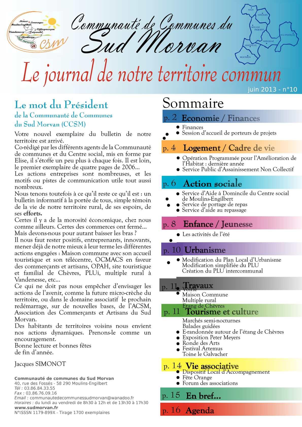 Calam o journal n 10 communaut de communes du sud morvan - Office national de publication et de communication ...