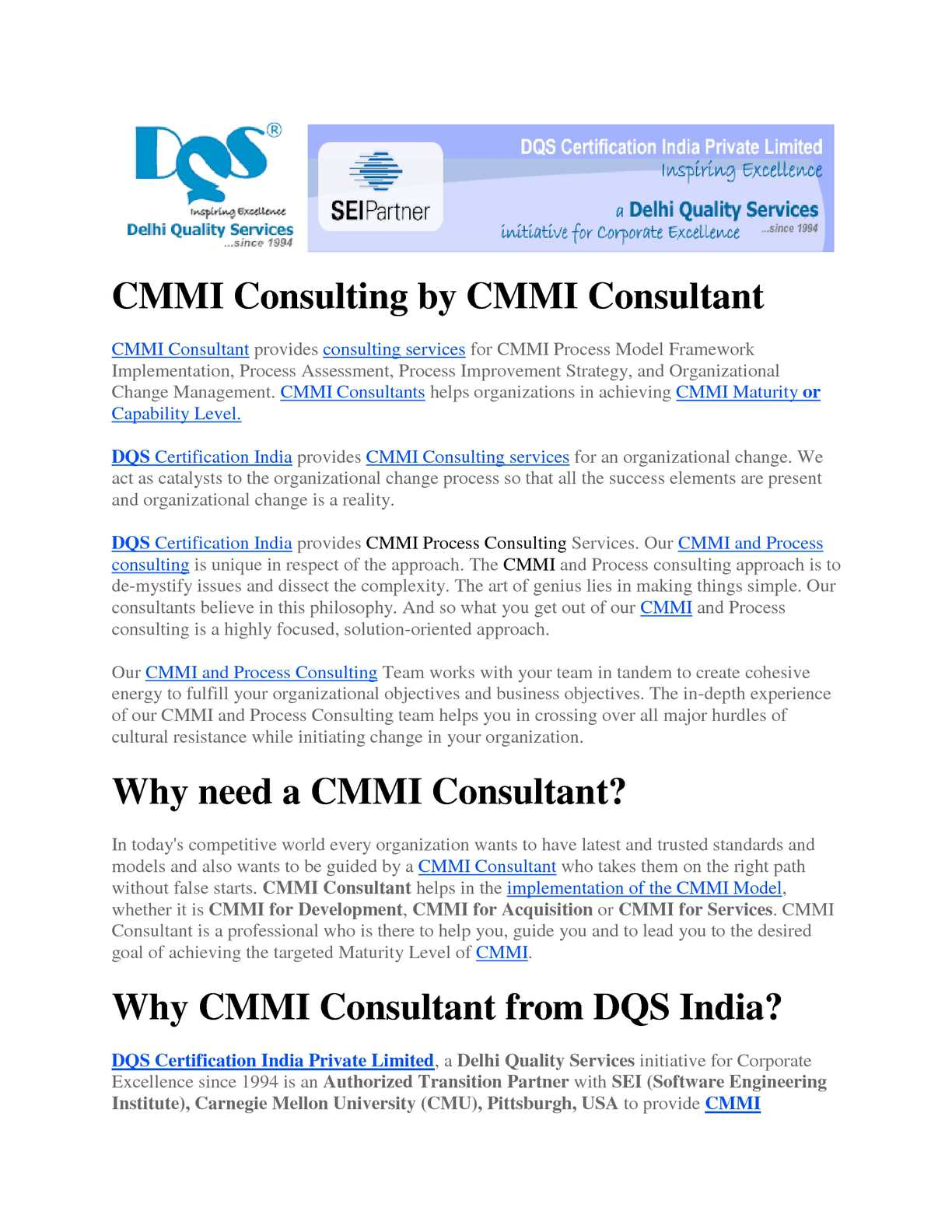 Calamo Cmmi Consulting Services Dqs Certification India
