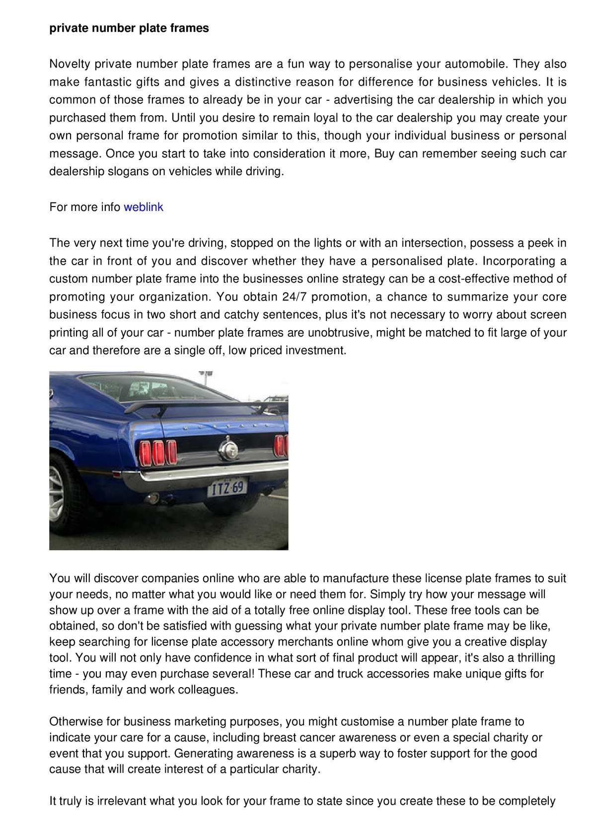 Calaméo - Registration Frames - Personalisation for Your Car
