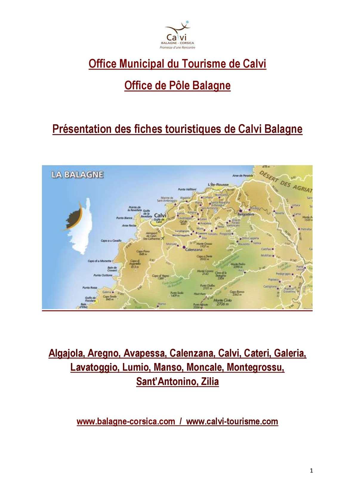 Calam o fiches touristiques et informatives calvi balagne - Sant feliu de guixols office du tourisme ...
