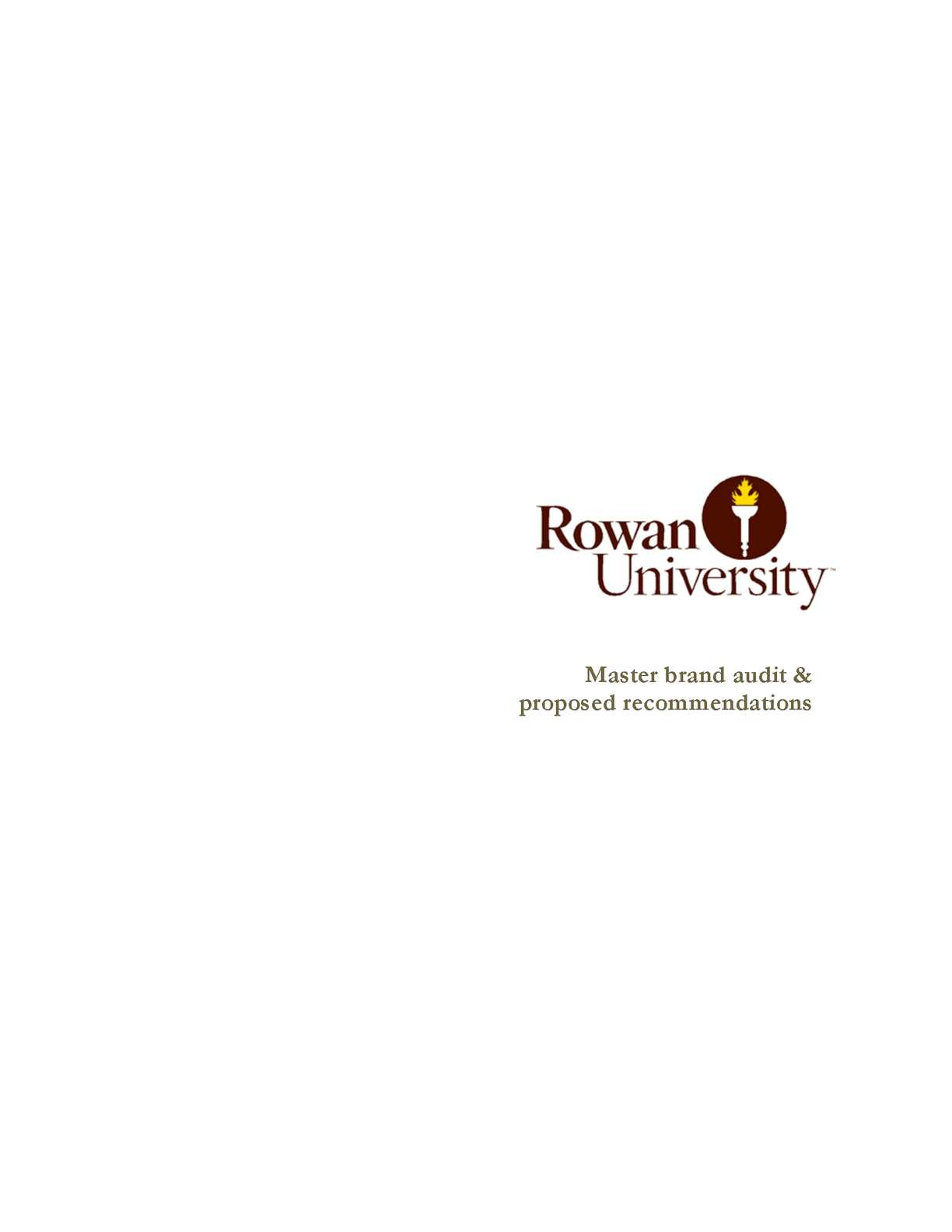 Calam o rowan university master brand audit proposed recommendations