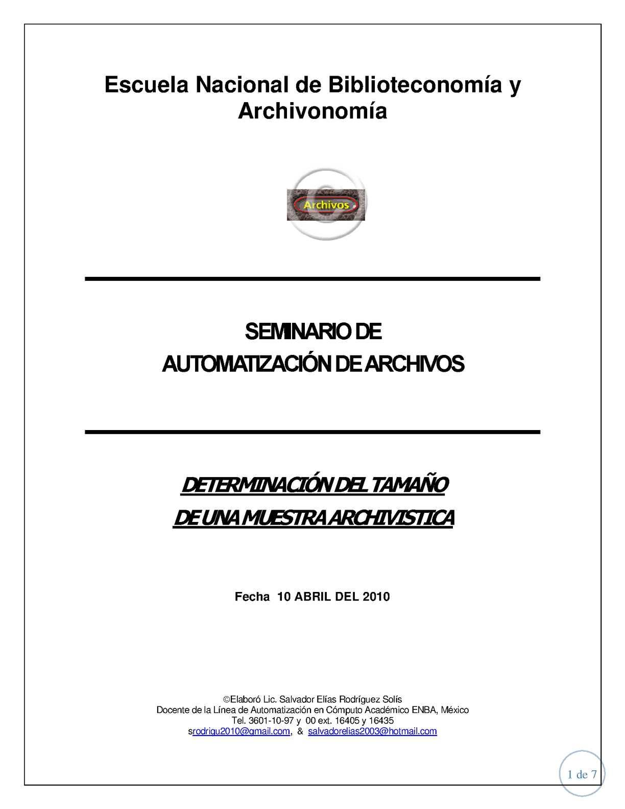 Determinacion del tamaño de una muestra archivistica