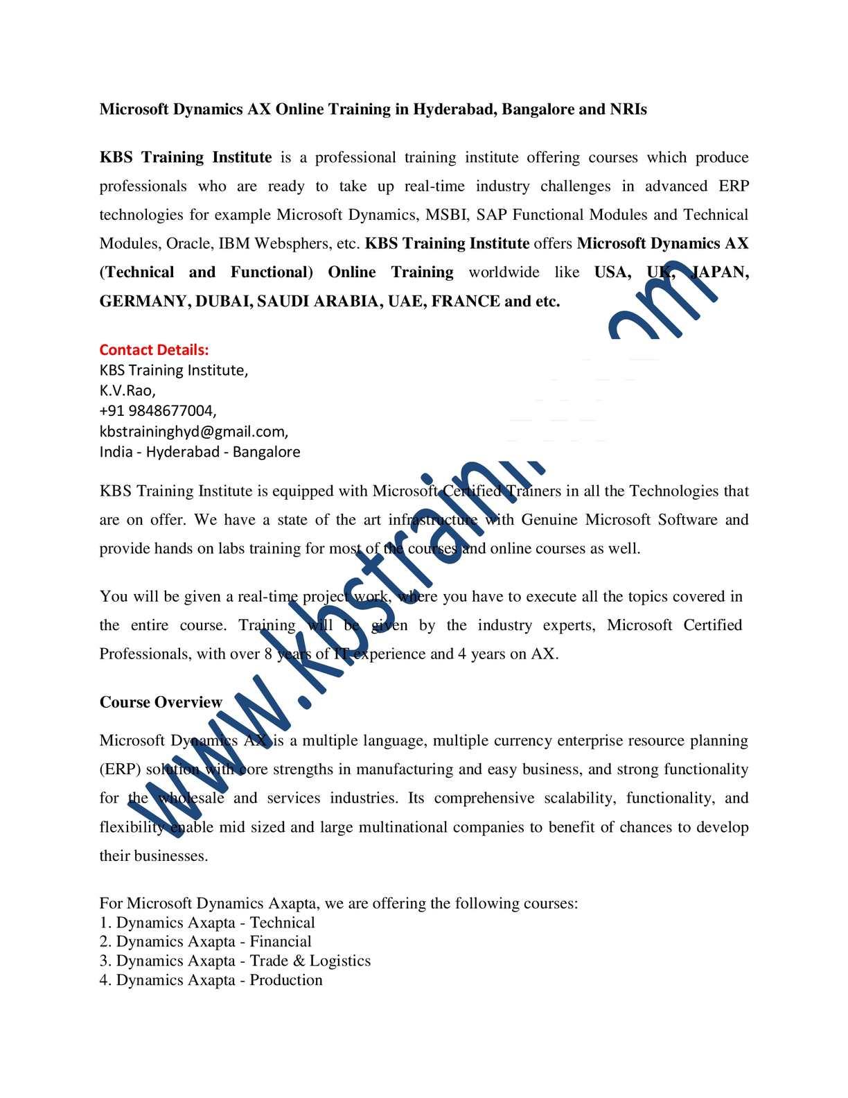 Calamo Microsoft Dynamics Ax Axapta Online Training And