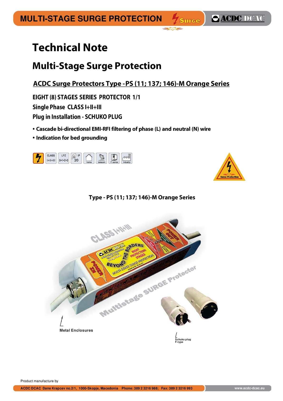Calamo Acdc Surge Protector Technical Note Orange Series Schuko Plug Wiring Diagram Http Shopacdc Dcaceu