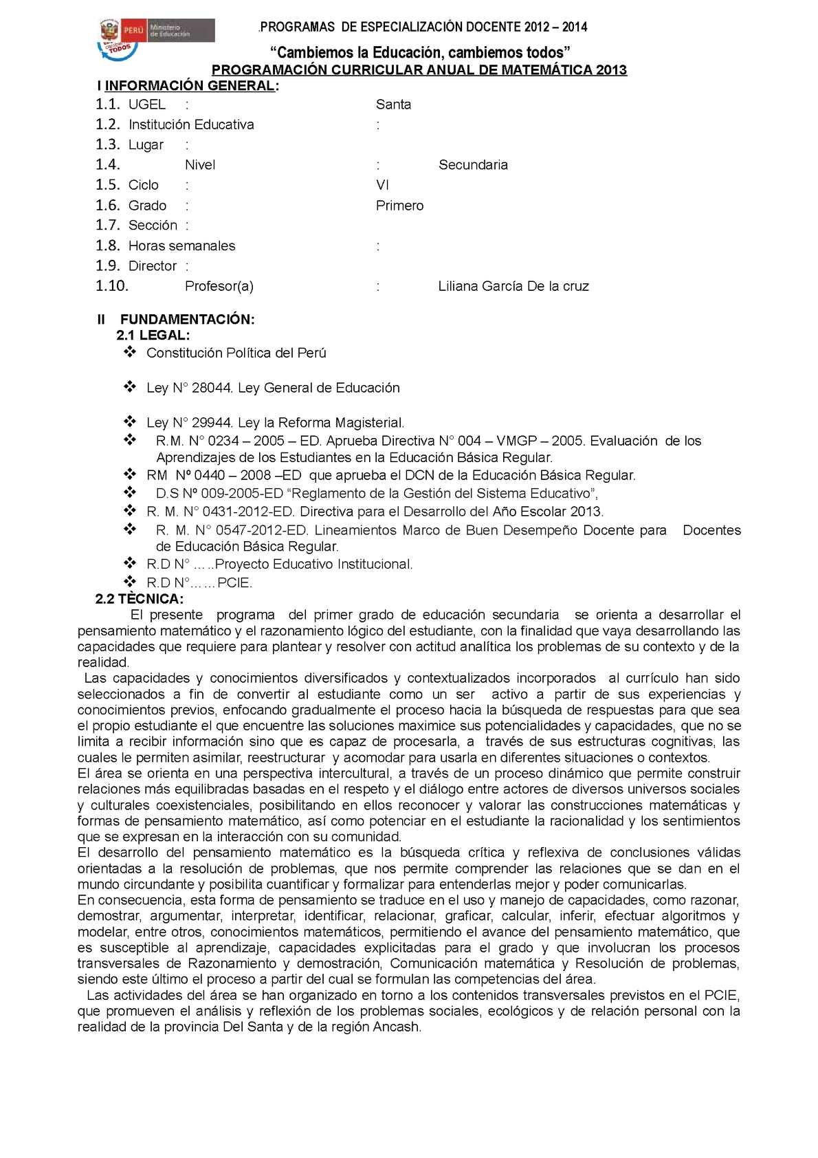MODELO DE PROGRAMACIÓN UNIDAD Y SESIÓN DE EDUCACIÓN SECUNDARIA 2013