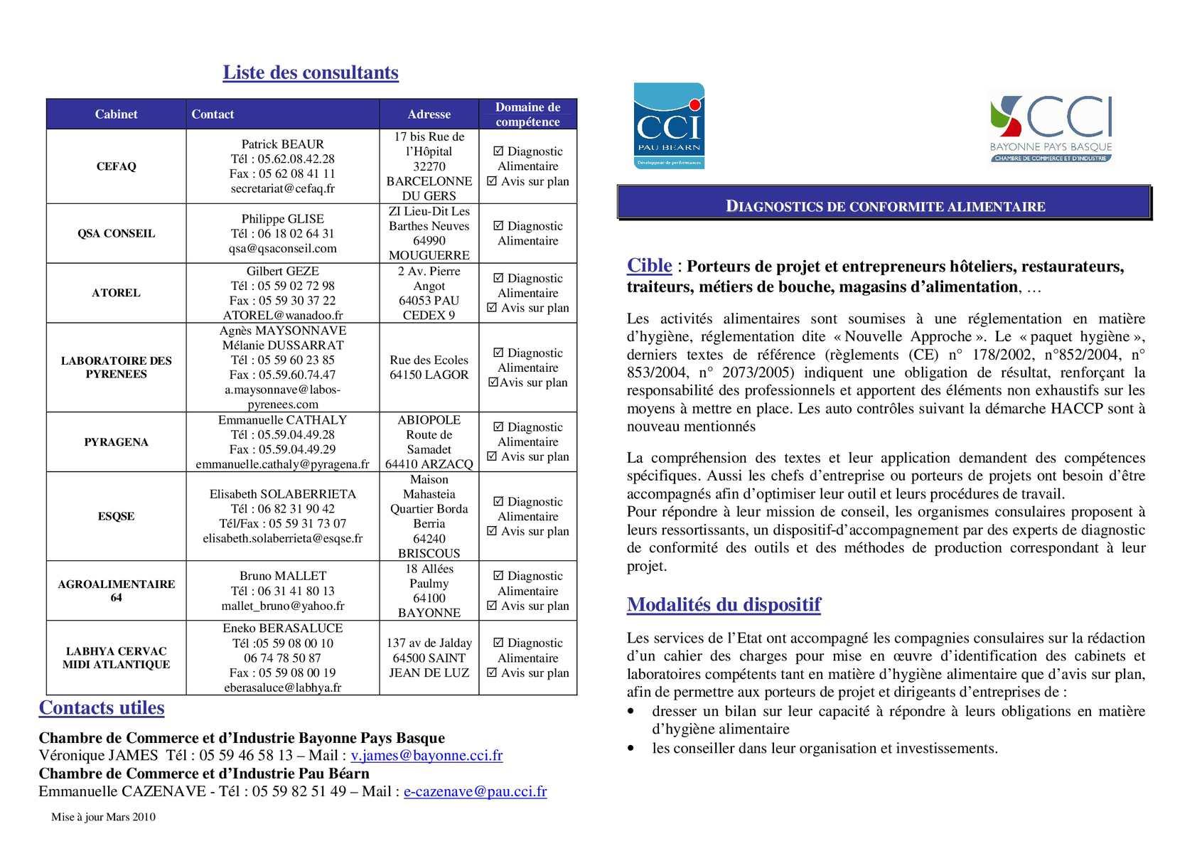 Calam o diagnostic hygiene alimentaire 2010 - Chambre de commerce de pau ...