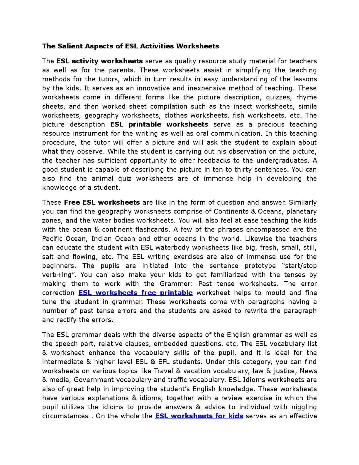Calamo The Salient Aspects Of Esl Activities Worksheets