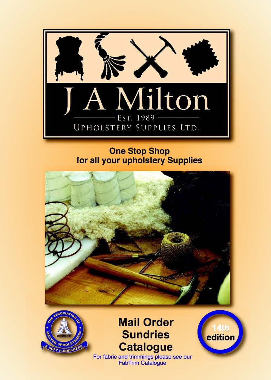 J A Milton Upholstery Supplies Sundries Catalogue Version 14