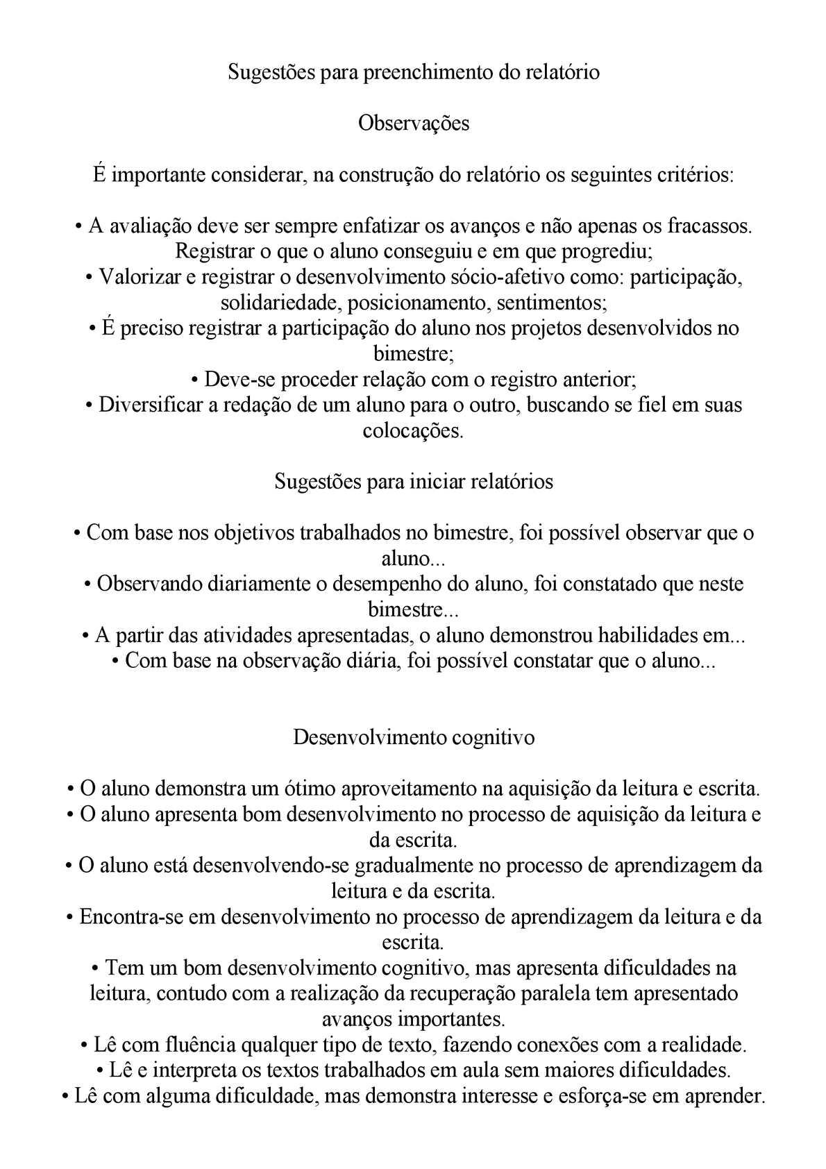 Super Calaméo - Sugestão para preenchimento de Relatório da Educação  LD89