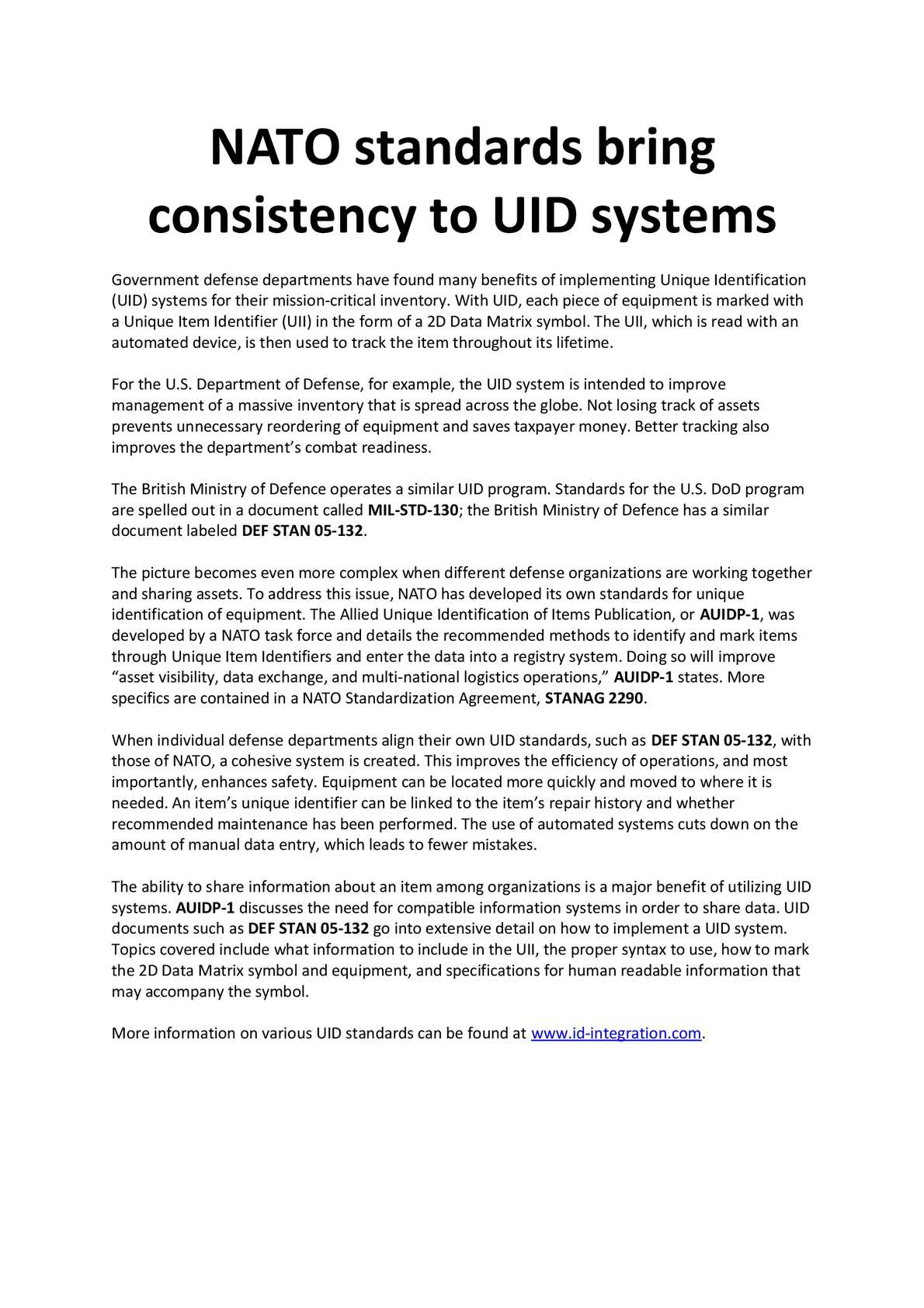 Calamo Nato Standards Bring Consistency To Uid Systems