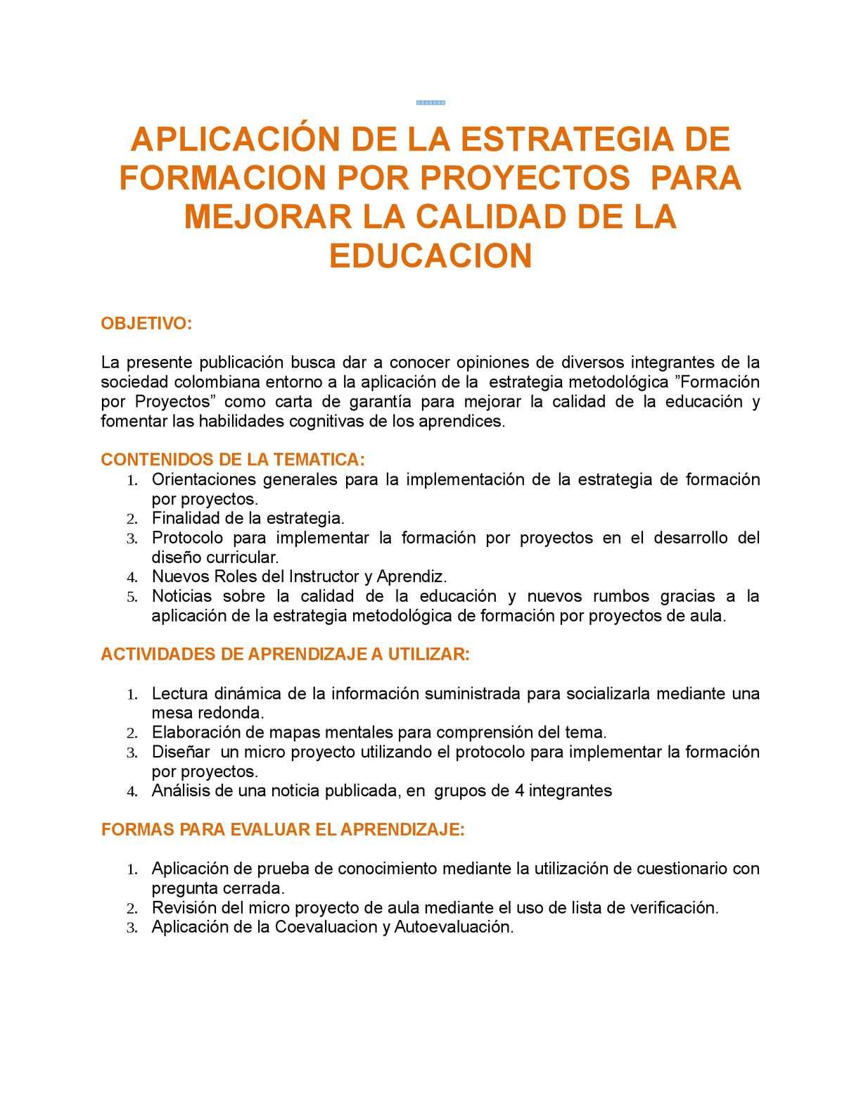 Calaméo - APLICACIÓN DE LA ESTRATEGIA DE FORMACION POR PROYECTOS ...