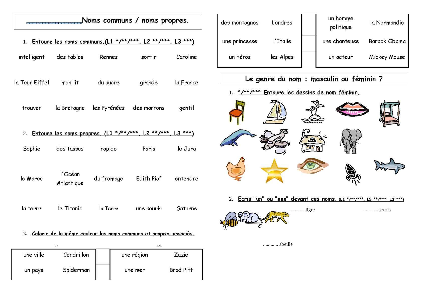 Calaméo - CP : ORL : les noms, les adjectifs (exercices)