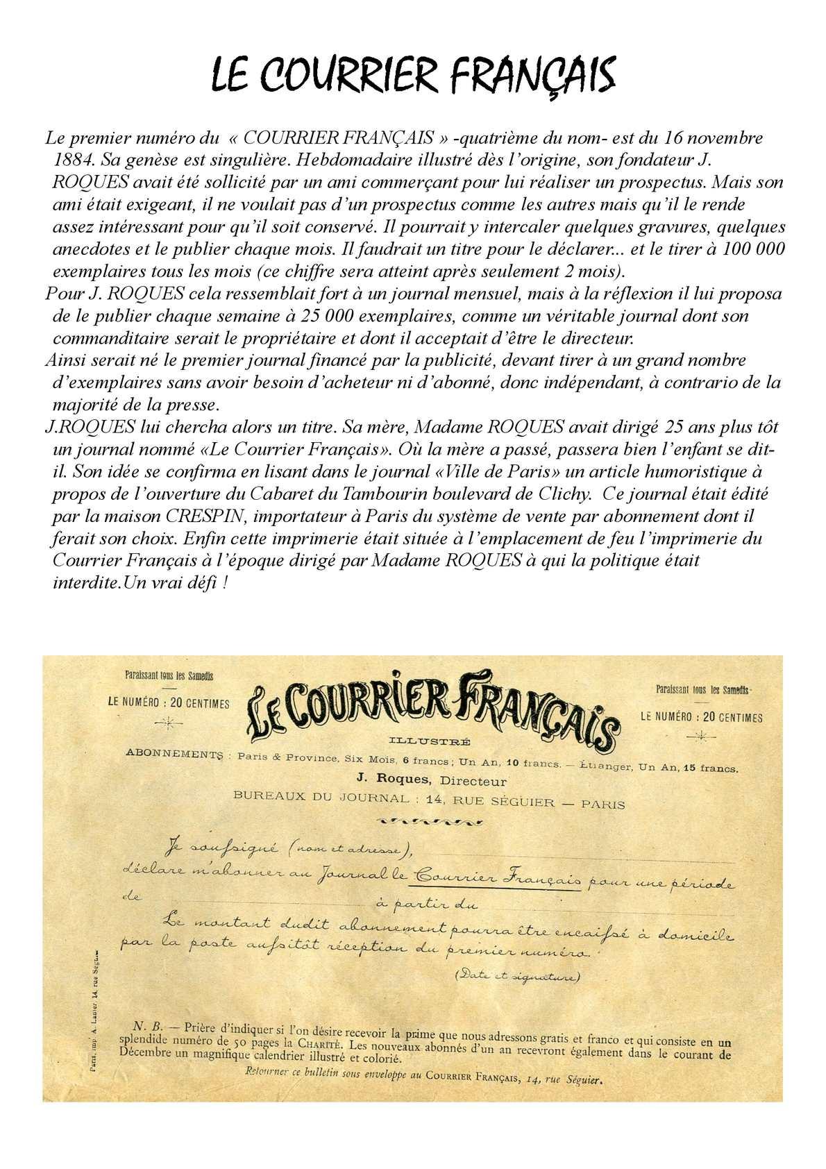 Le Courrier Français 1884