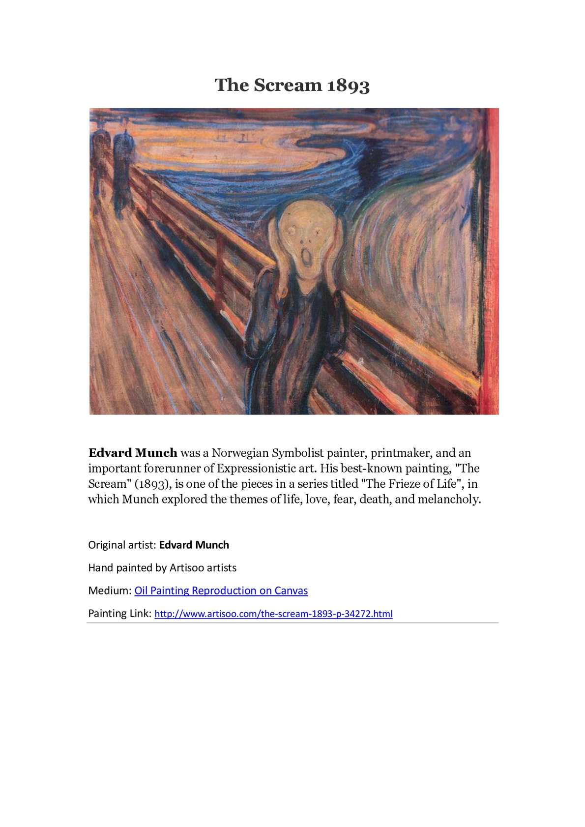 the scream munch essay The two featureless figures in the background could represent munch's expression of the group or group mentality, who are only concerned with their daily lives and are completely unaware of the daunting vastness of nature presented right before their eyes.