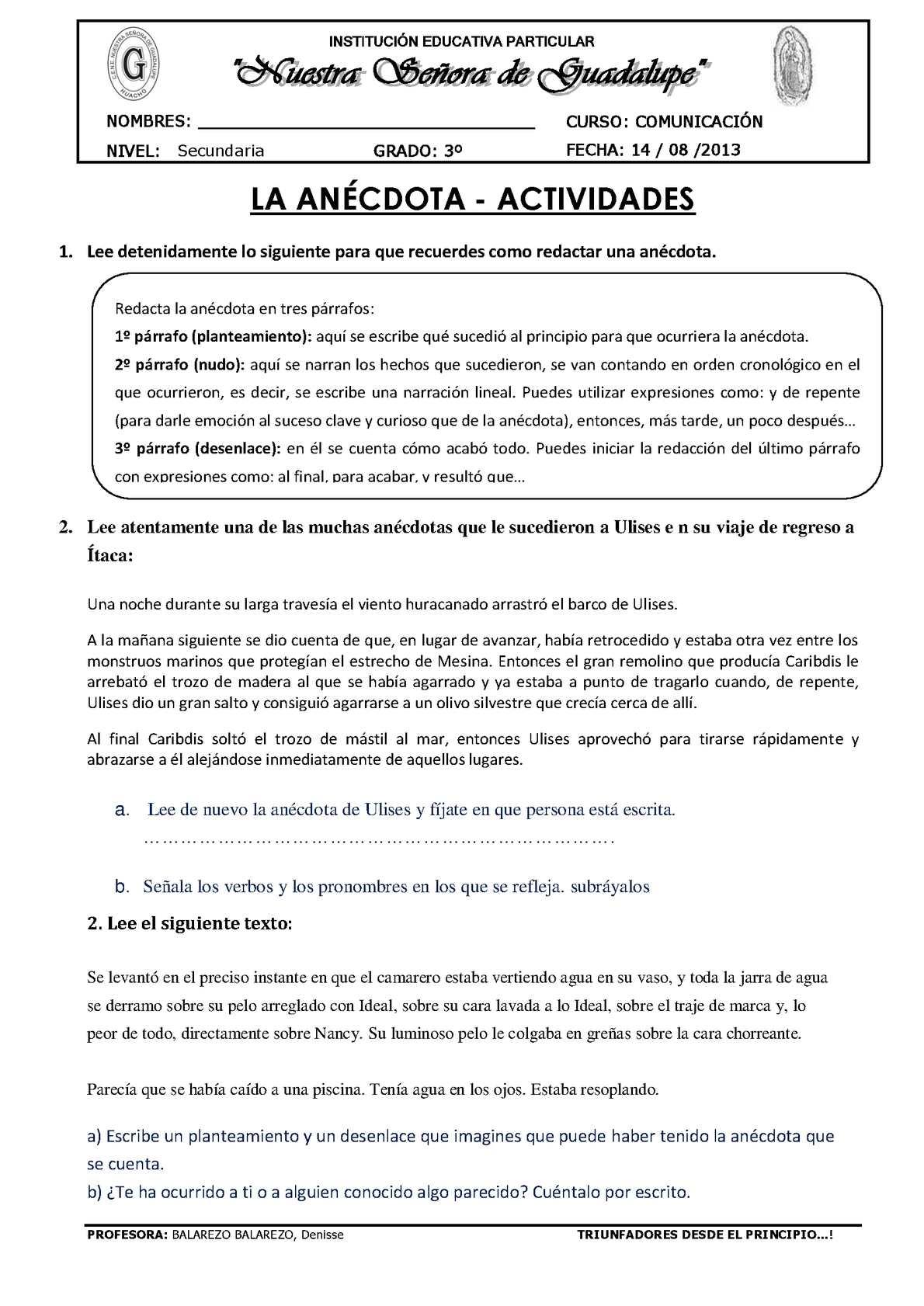 LA ANÉCDOTA - ACTIVIDADES