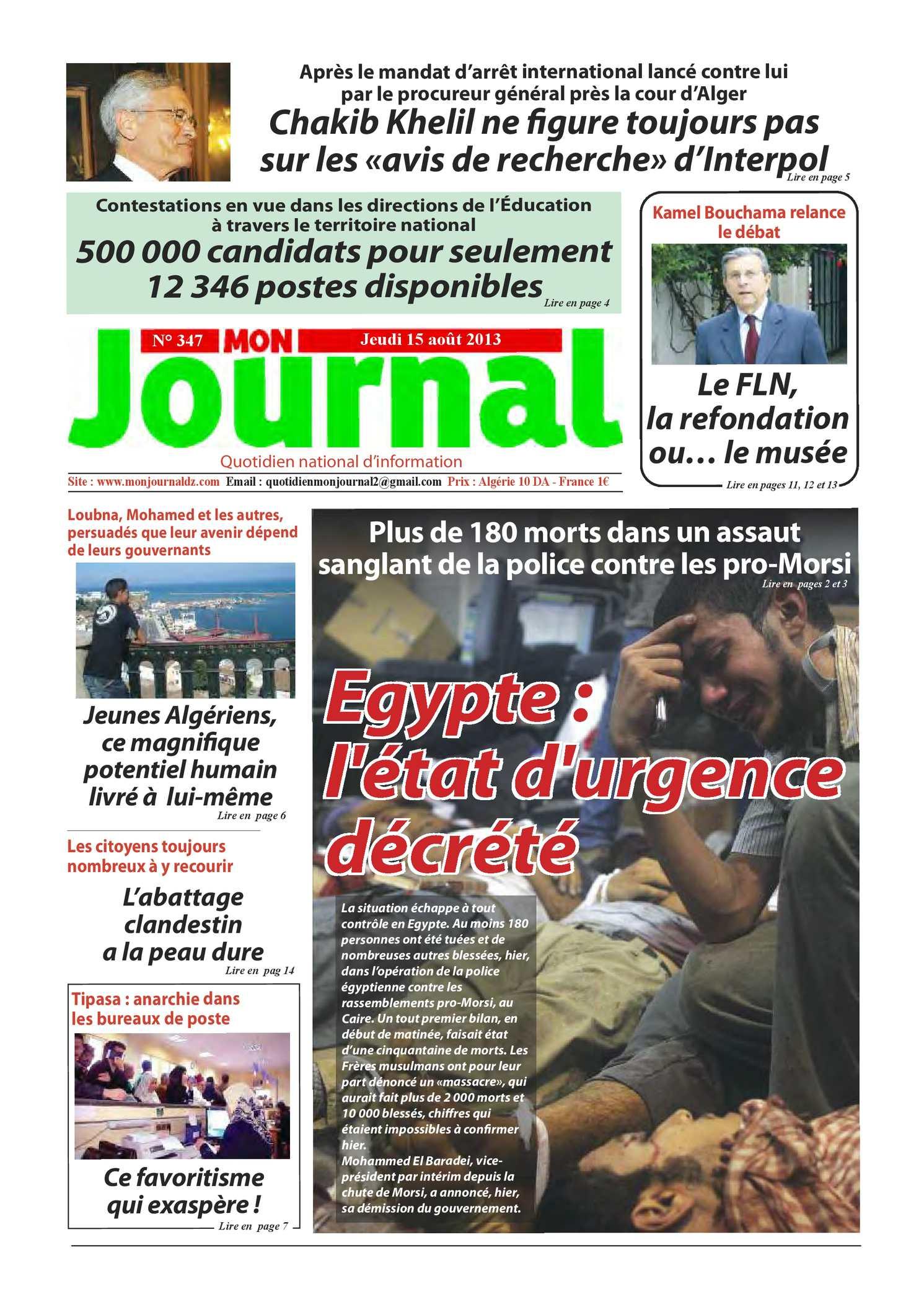 Mon Journal du 15.08.2013