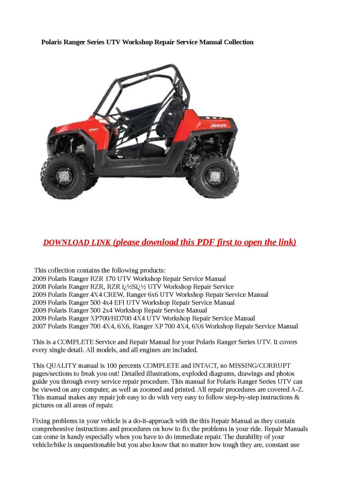 2009 polaris ranger 500 4x4 efi workshop service repair manual