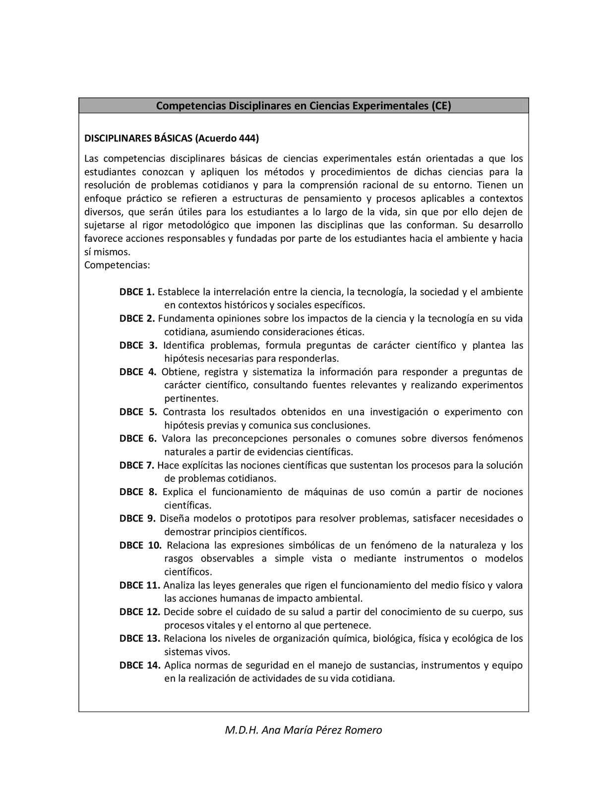 COMPETENCIAS DISCIPLINARES EN CIENCIAS EXPERIMENTALES