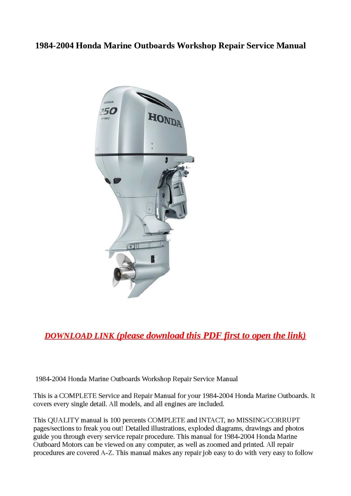calam o 1984 2004 honda marine outboards workshop repair service rh calameo com Parts Manual Service Station