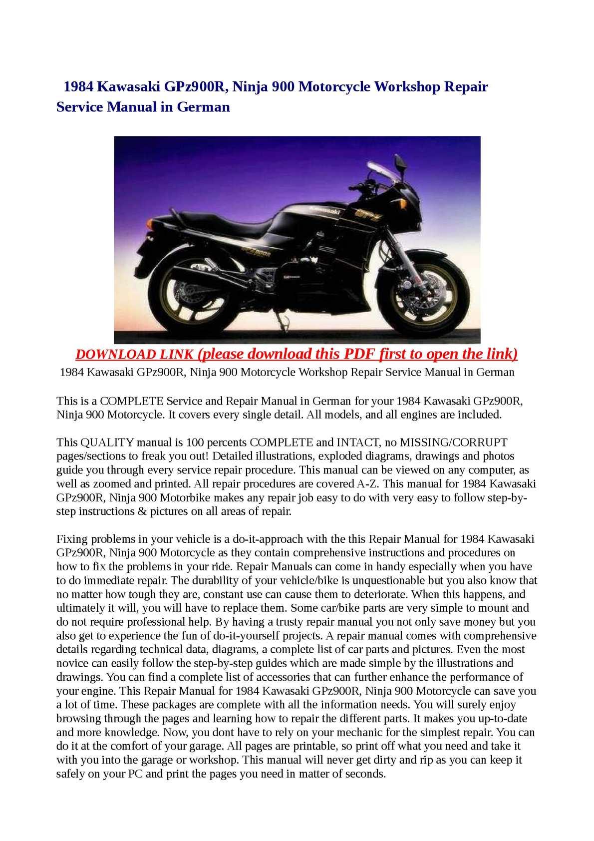 calam o 1984 kawasaki gpz900r ninja 900 motorcycle workshop rh calameo com 1994 Kawasaki Ninja 900 Kawasaki Ninja 250R