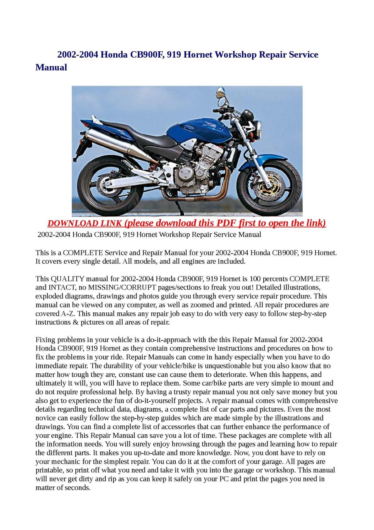 calam o 2002 2004 honda cb900f 919 hornet workshop repair service rh calameo com honda cb 900 service manual honda cb900f repair manual