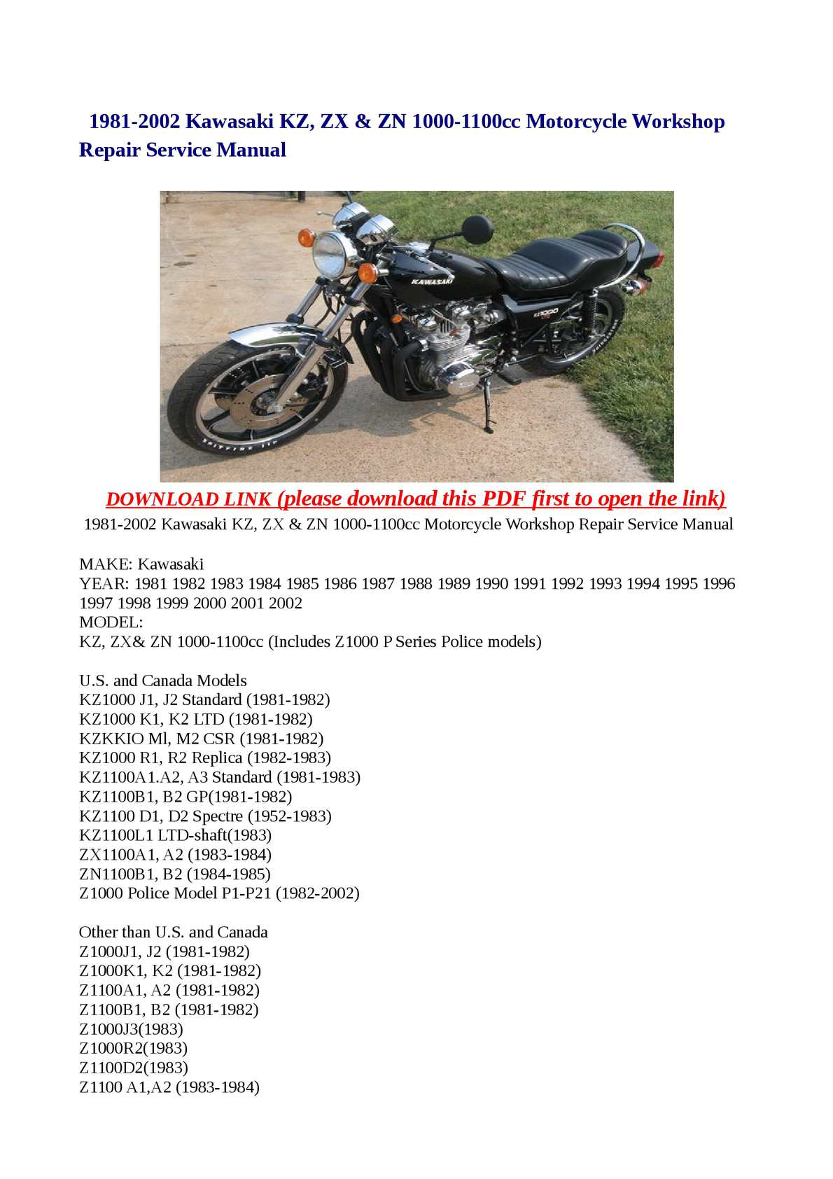 Calamo 1981 2002 Kawasaki Kz Zx Zn 1000 1100cc Motorcycle Z1000 Wiring Diagram Workshop Repair Service Manual