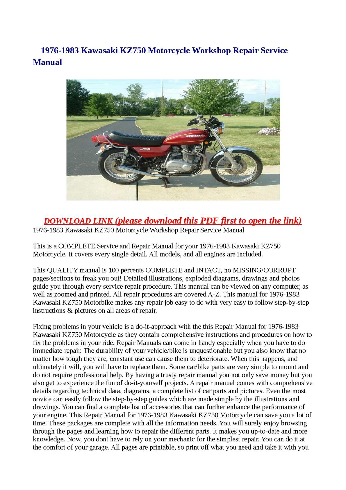 Calamo 1976 1983 Kawasaki Kz750 Motorcycle Workshop Repair 19781979 Complete Wiring Diagram All About Service Manual