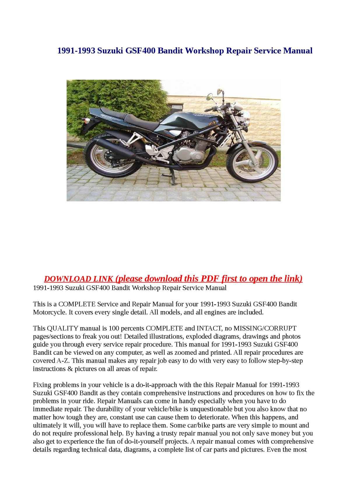 suzuki gsf400 1991 1993 service repair manual download