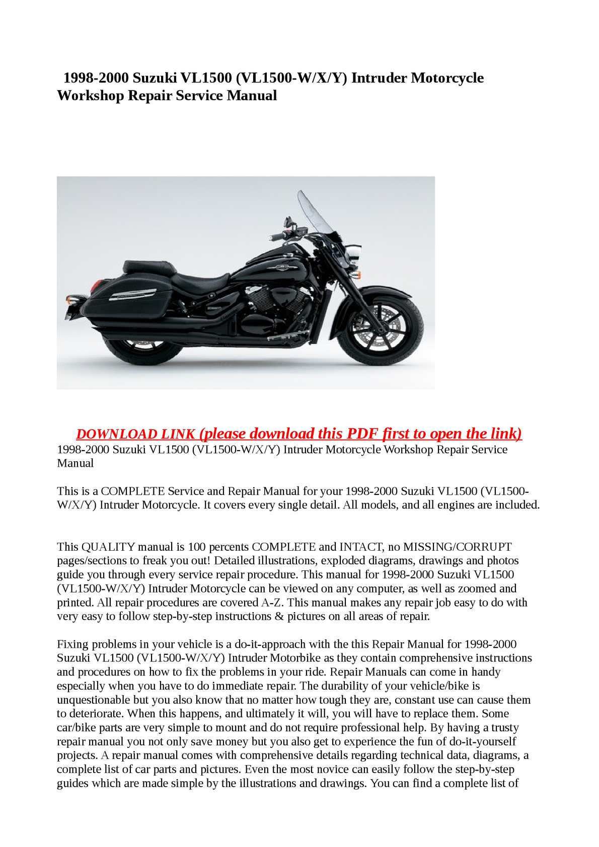 Calaméo - 1998-2000 Suzuki VL1500 (VL1500-W/X/Y) Intruder Motorcycle Workshop  Repair Service Manual