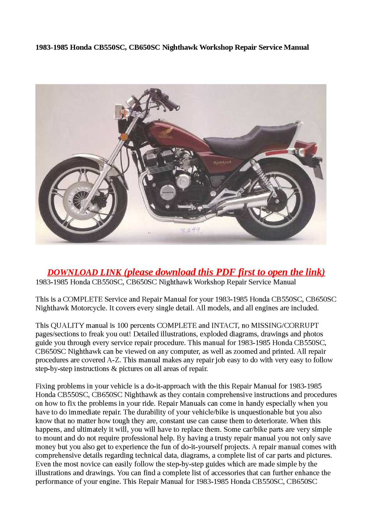 calam o 1983 1985 honda cb550sc cb650sc nighthawk workshop repair rh calameo com 1980 Honda CB650 Cafe Racer 1982 Honda CB750 Custom