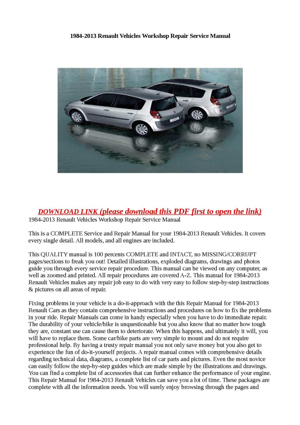 Calamo 1984 2013 renault vehicles workshop repair service manual fandeluxe Images