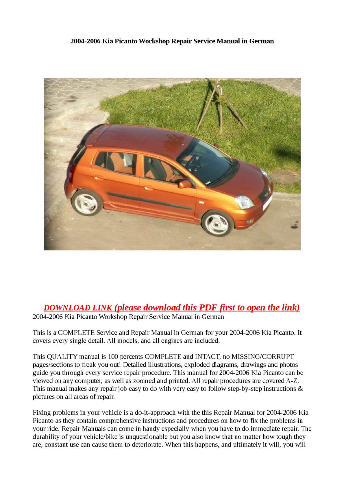 Calamo 2004 2006 kia picanto workshop repair service manual in german cheapraybanclubmaster