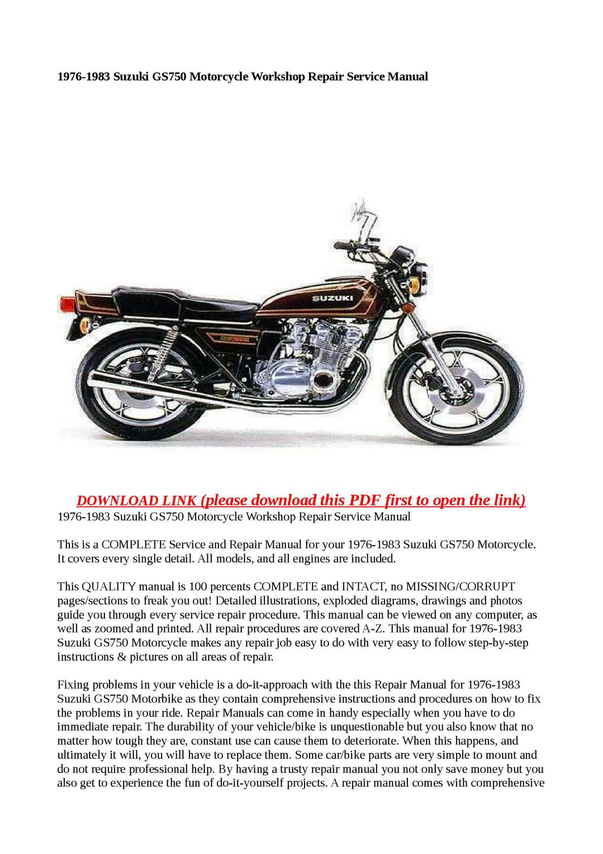 Calamo 1976 1983 Suzuki Gs750 Motorcycle Workshop Repair Service 1982 Wiring Diagrams Manual