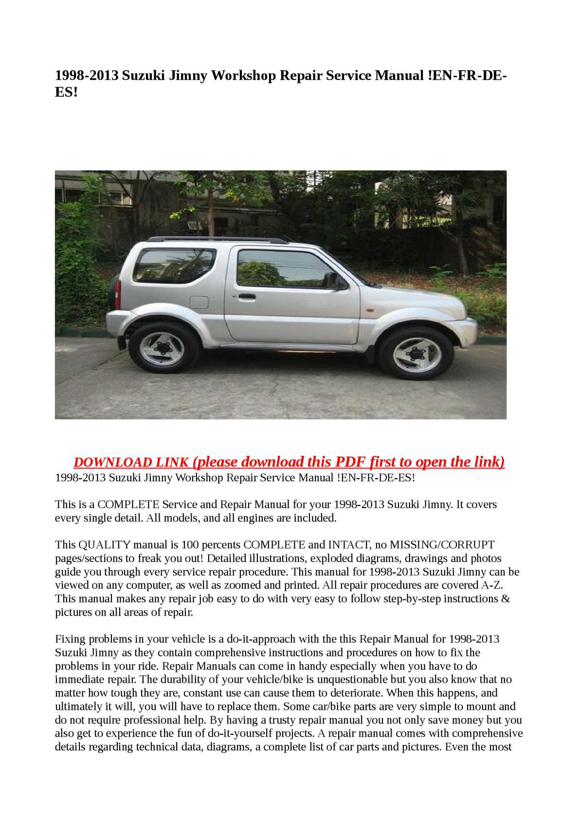 calam o 1998 2013 suzuki jimny workshop repair service manual en rh calameo com suzuki jimny owners manual pdf 2002 suzuki jimny owners manual