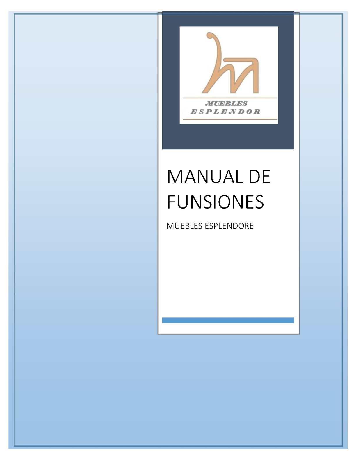 MANUAL DE FUNCIONES MUEBLES ESPLENDOR