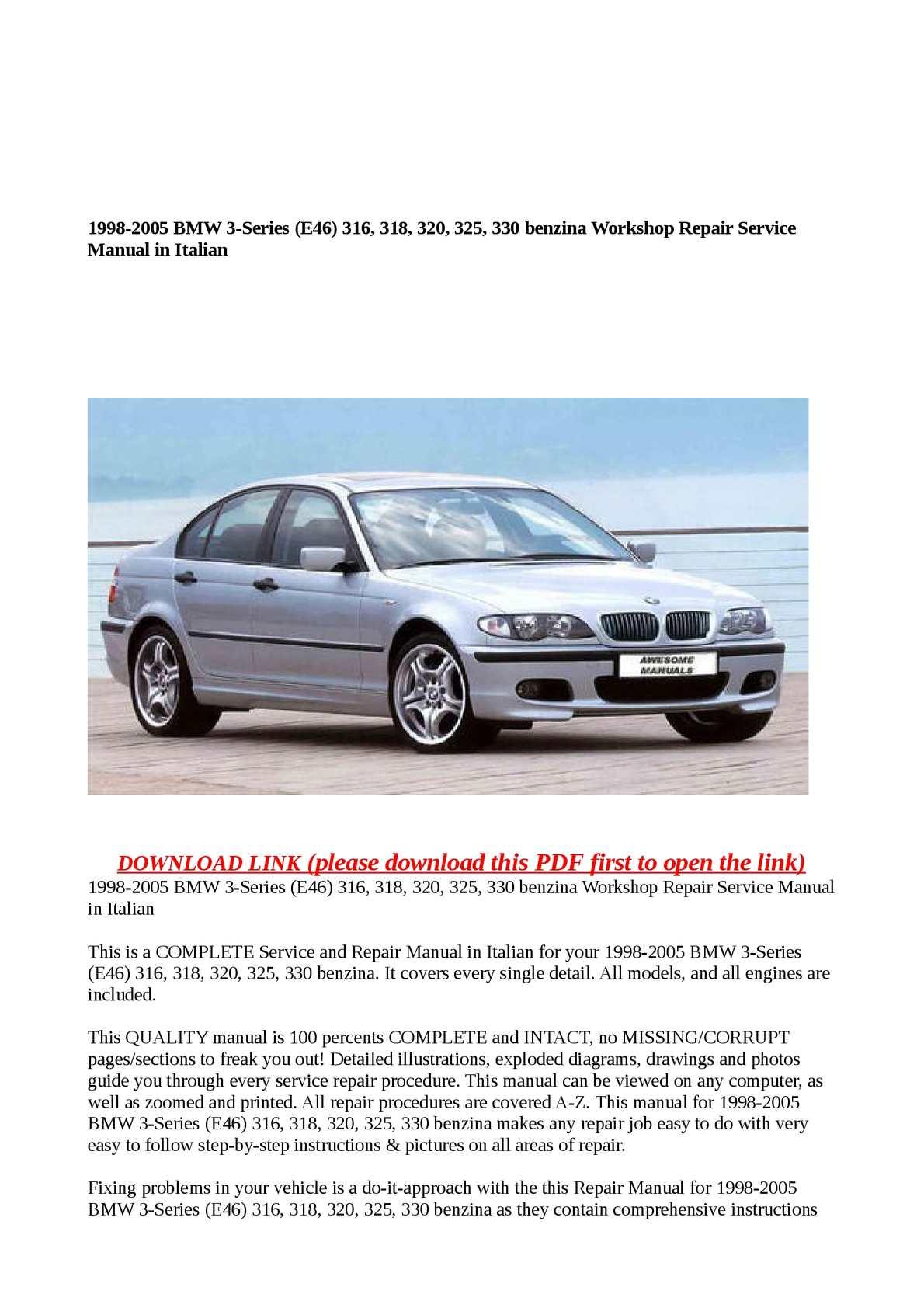 Calaméo - 1998-2005 BMW 3-Series (E46) 316, 318, 320, 325, 330 benzina Workshop  Repair Service Manual in Italian