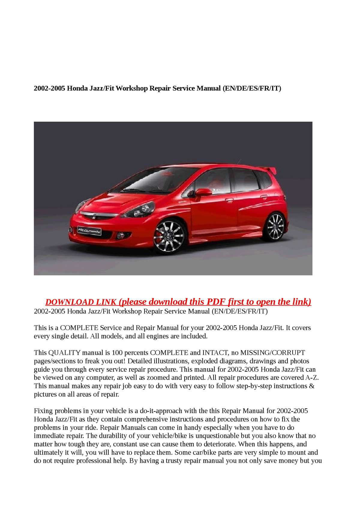 Calaméo - 2002-2005 Honda Jazz/Fit Workshop Repair Service Manual  (EN/DE/ES/FR/IT)
