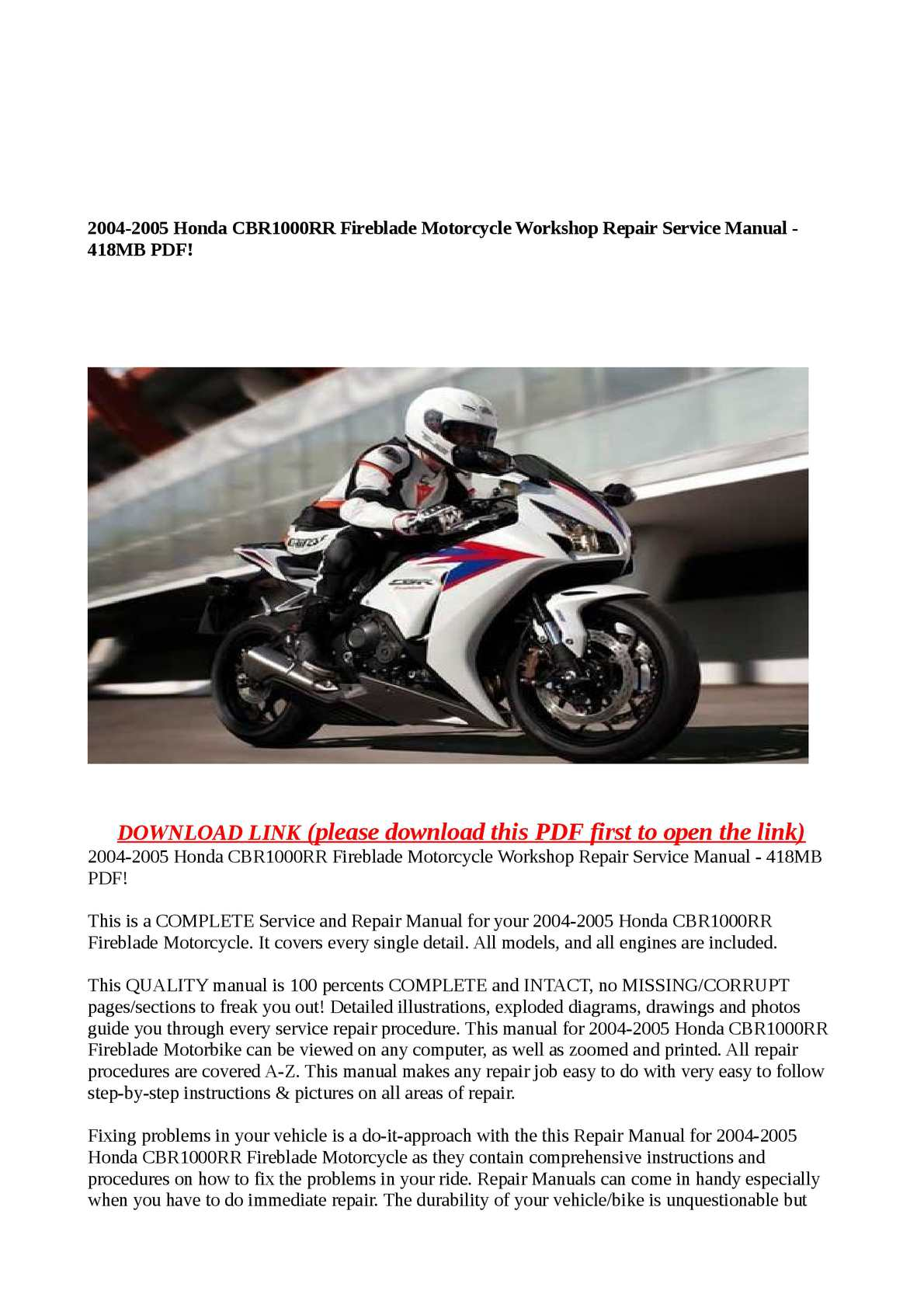 2005 honda cbr1000rr service manual free download enthusiast