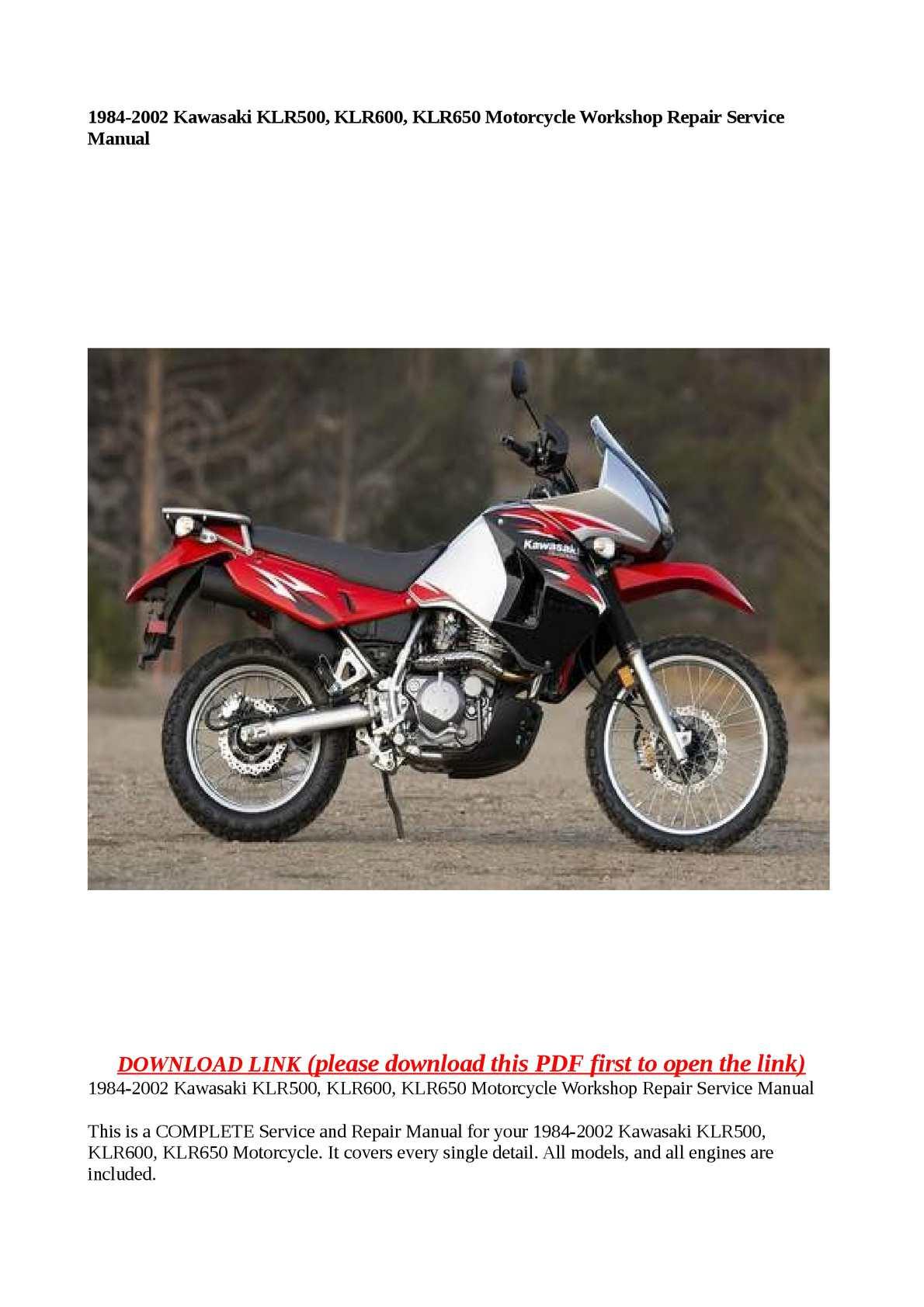 Calaméo - 1984-2002 Kawasaki KLR500, KLR600, KLR650 Motorcycle Workshop  Repair Service Manual