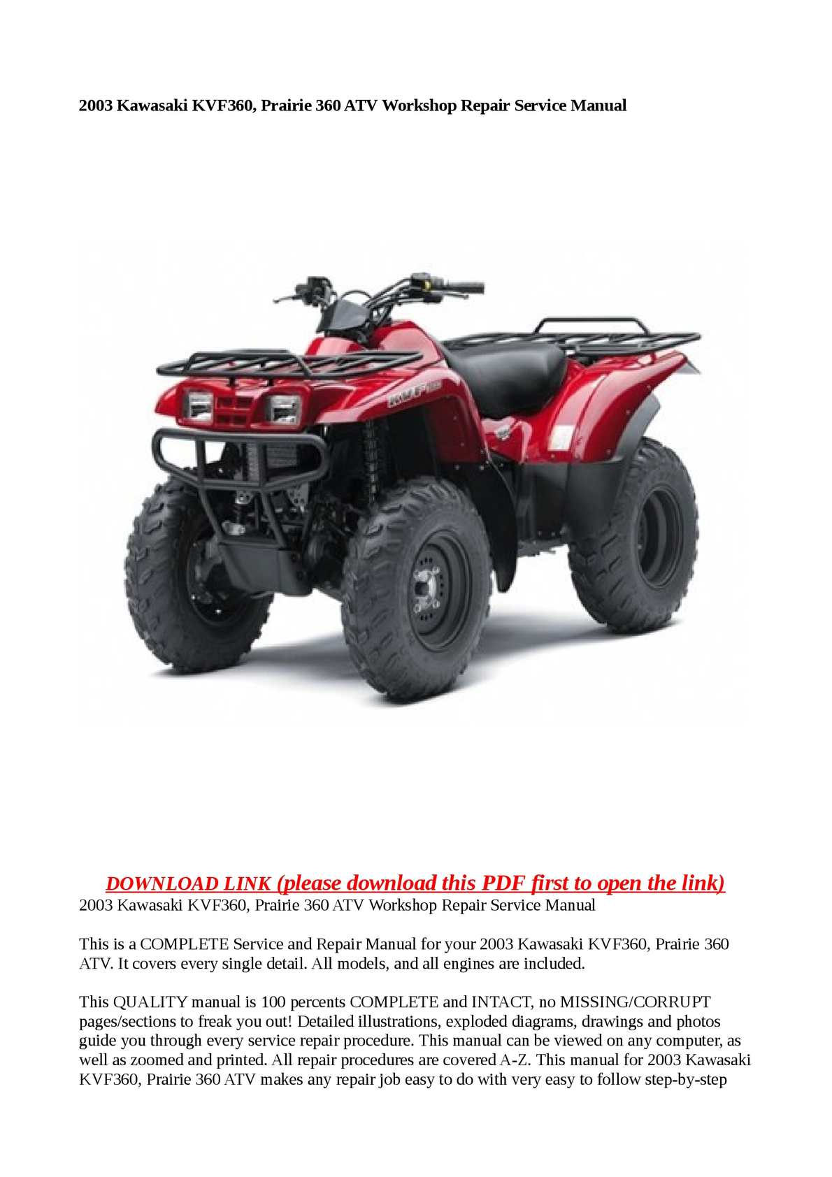 Calaméo - 2003 Kawasaki KVF360, Prairie 360 ATV Workshop Repair Service  Manual