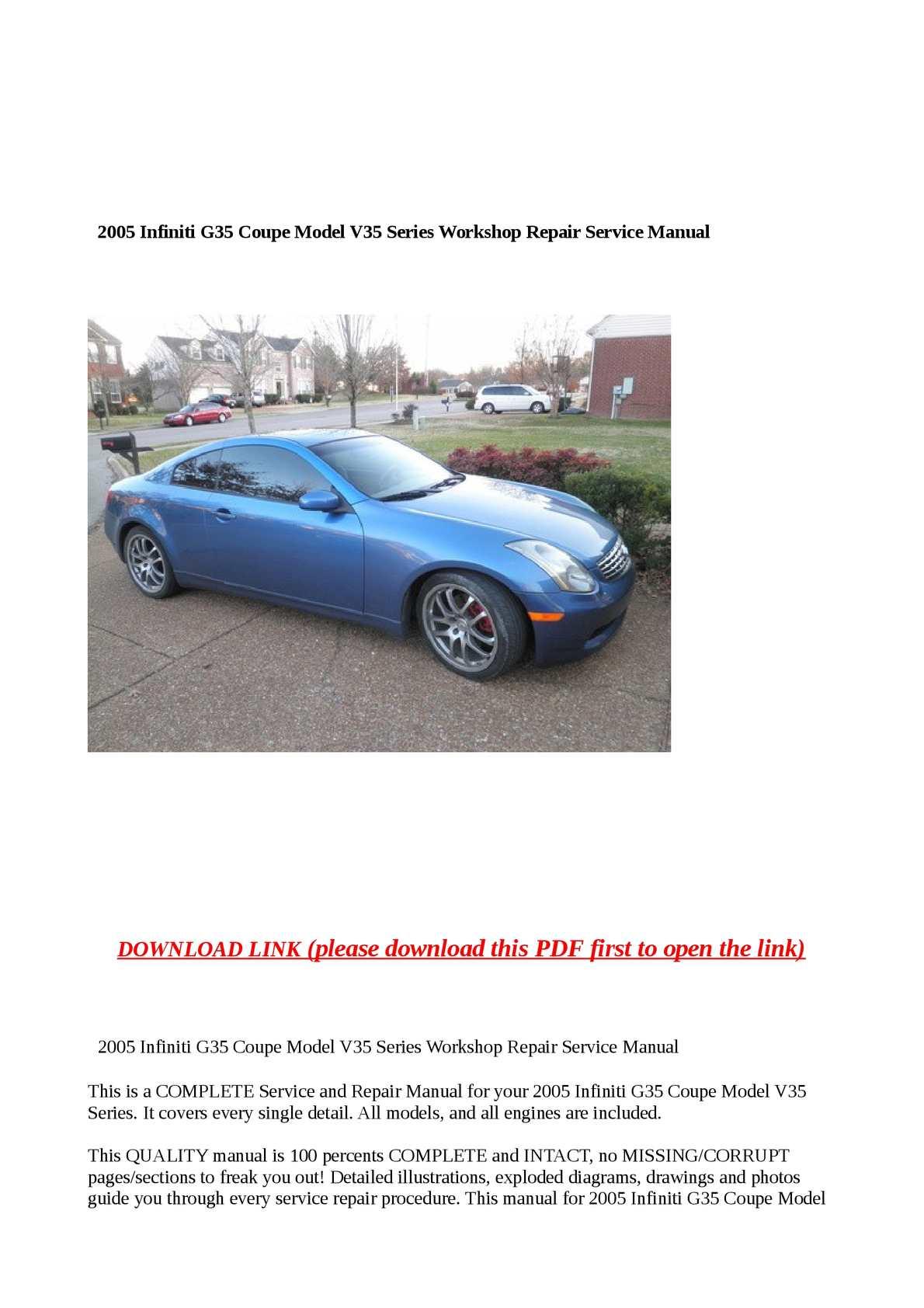 2005 g35 service manual pdf