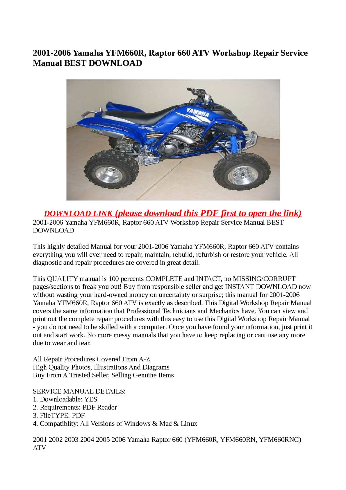 Calaméo - 2001-2006 Yamaha YFM660R, Raptor 660 ATV Workshop Repair Service  Manual BEST DOWNLOAD