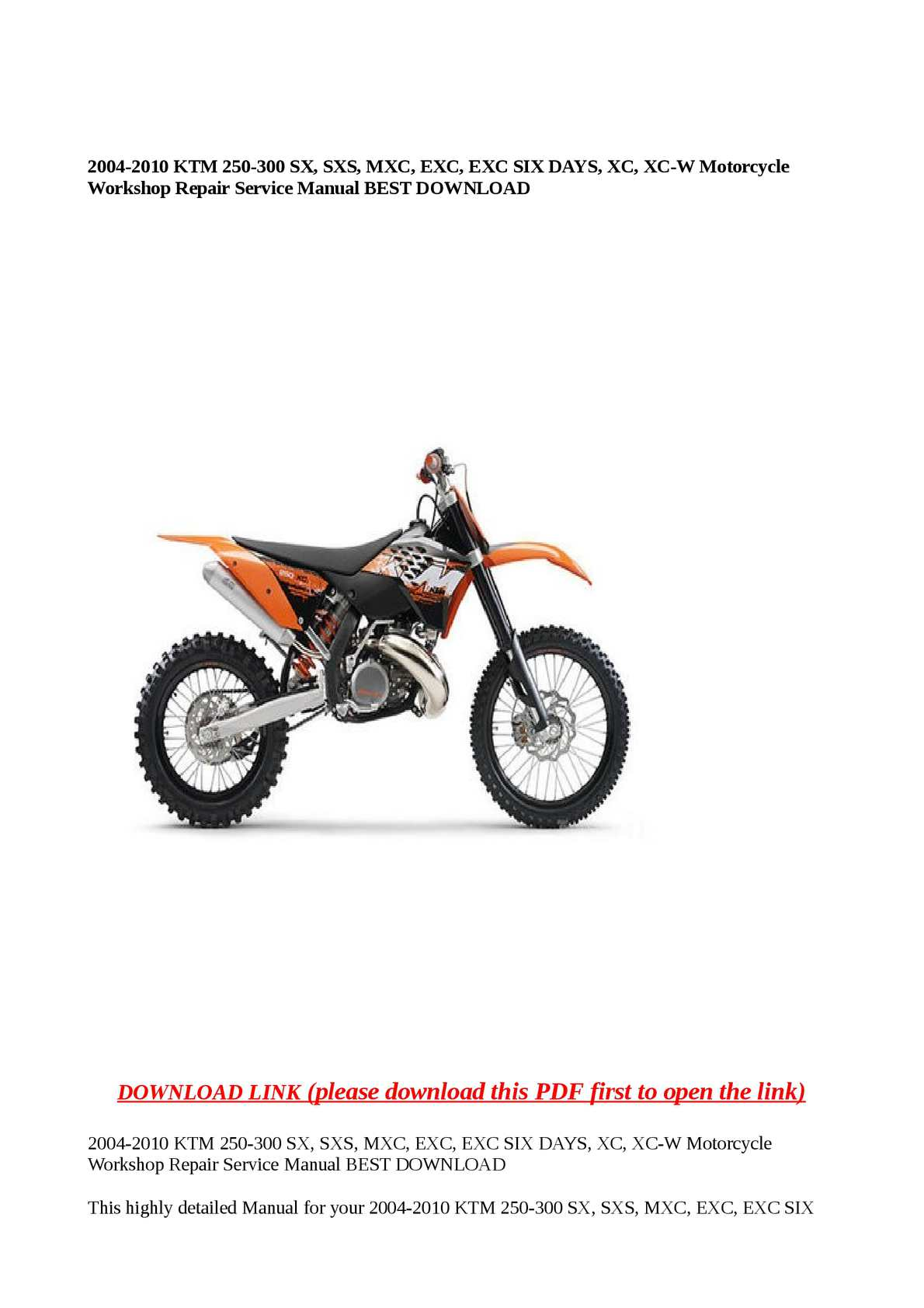 Calaméo - 2004-2010 KTM 250-300 SX, SXS, MXC, EXC, EXC SIX DAYS, XC, XC-W  Motorcycle Workshop Repair Service Manual BEST DOWNLOAD