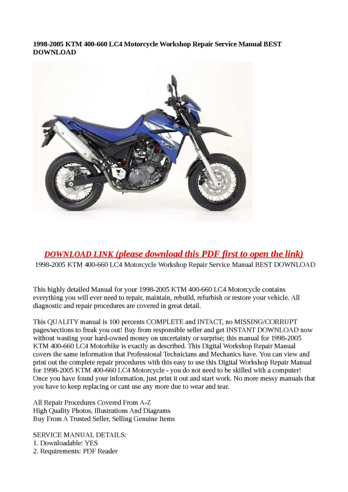 Calaméo - 1998-2005 KTM 400-660 LC4 Motorcycle Workshop Repair Service  Manual BEST DOWNLOAD